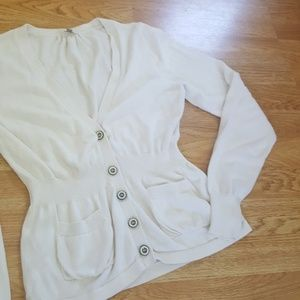 Fossil vneck cardigan offwhite button down sweater